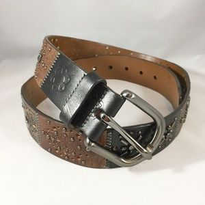 Fossil Brown Embellished Multi-Color Leather Belt
